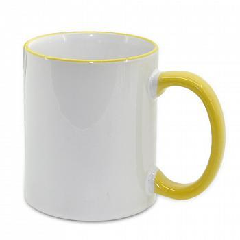 Кружка белая с желтой ручкой и ободком