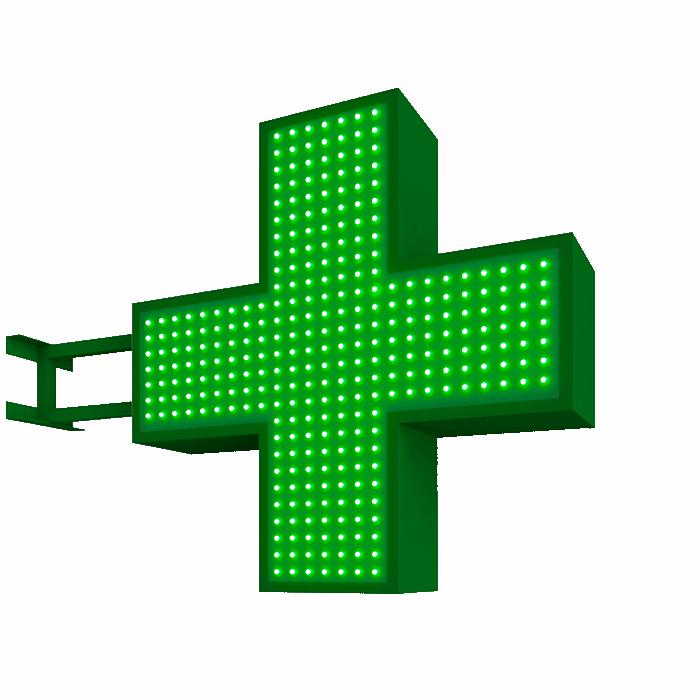 Аптечный светодиодный крест (одноцветный) двусторонний 768х768мм