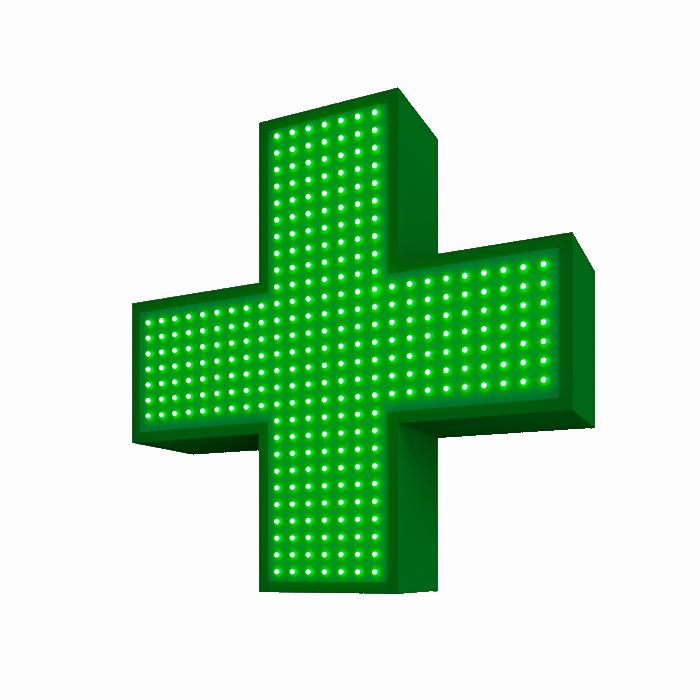 Аптечный светодиодный крест (одноцветный) односторонний  480х480мм