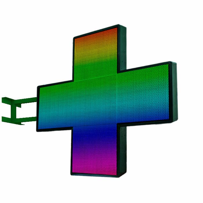 Аптечный светодиодный крест Полноцветный двусторонний 480х480 мм